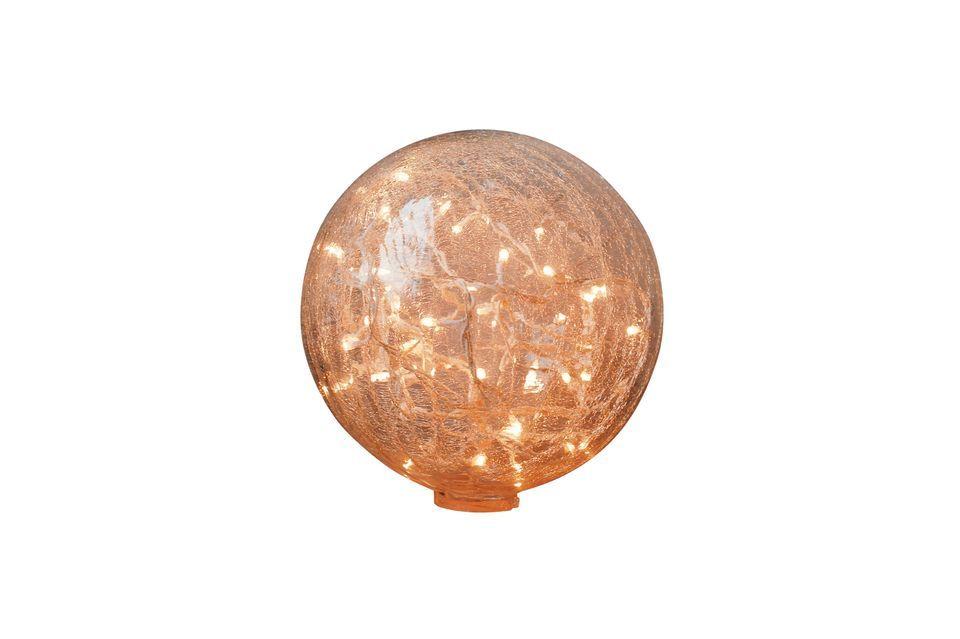 Esta lámpara de mesa de 25 cm con una bola de cristal transparente agrietado revela un efecto de