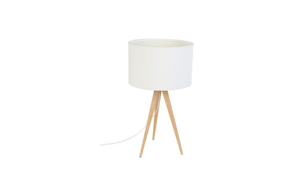 Lámpara de mesa Trípode madera blanca - 5
