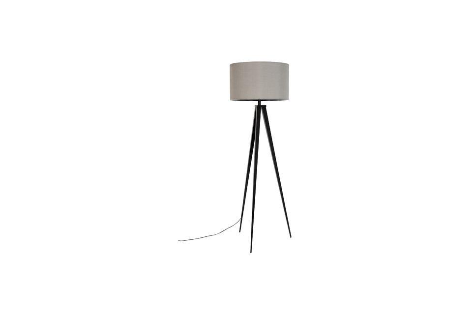 Lámpara de piso Trípode negro gris - 6