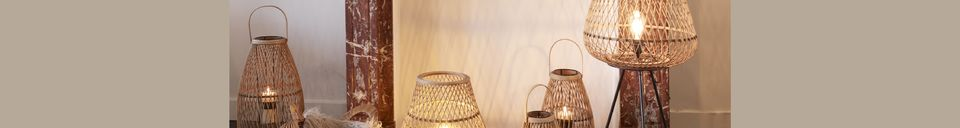 Descriptivo Materiales  Lámpara Tao de bambú trenzado