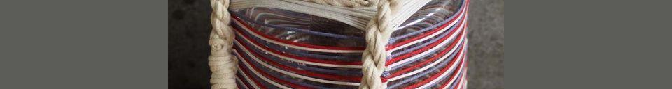 Descriptivo Materiales  Linterna Thieux con hilos de algodón de colores
