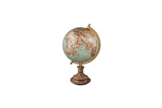Mapa mundial de base de madera antigua Riverie Clipped