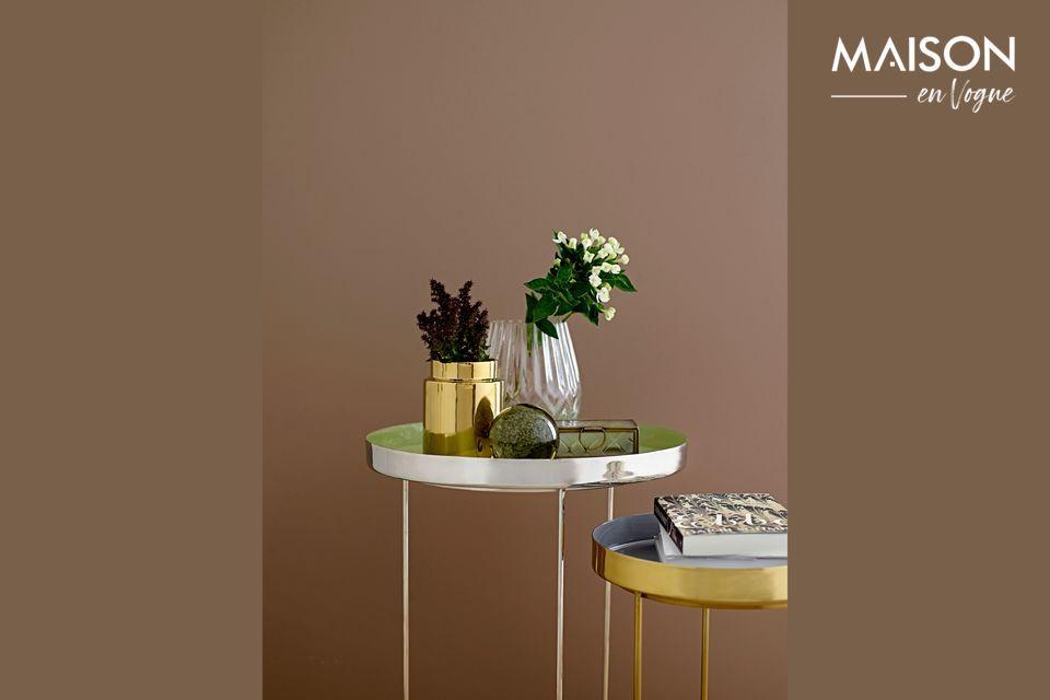 Mesa de café de aluminio verde y plateado