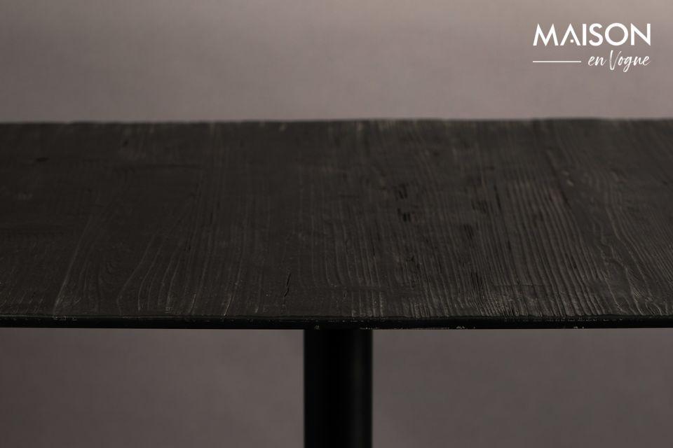 Este mueble combina elegantemente una tapa de madera de pino y una base de metal negro