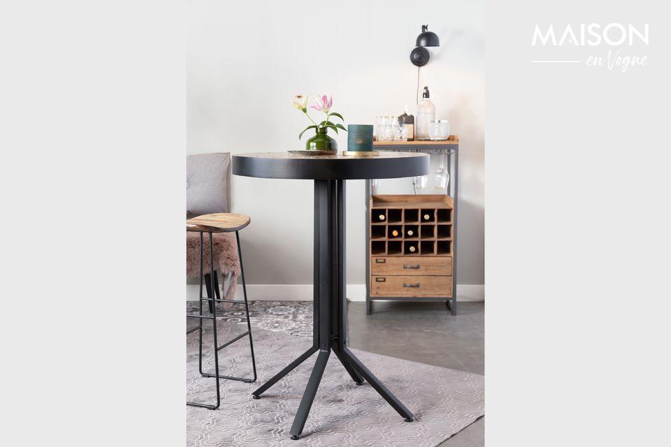 Mesa de bar redonda Maze de acabado natural White Label