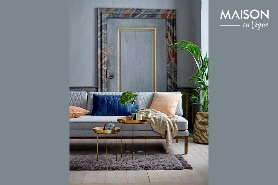 Elegante mesa redonda gris y dorada