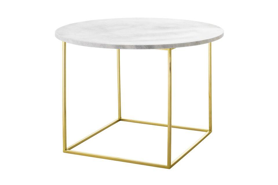 Con su tapa redonda de mármol blanco y sus originales patas de acero inoxidable dorado