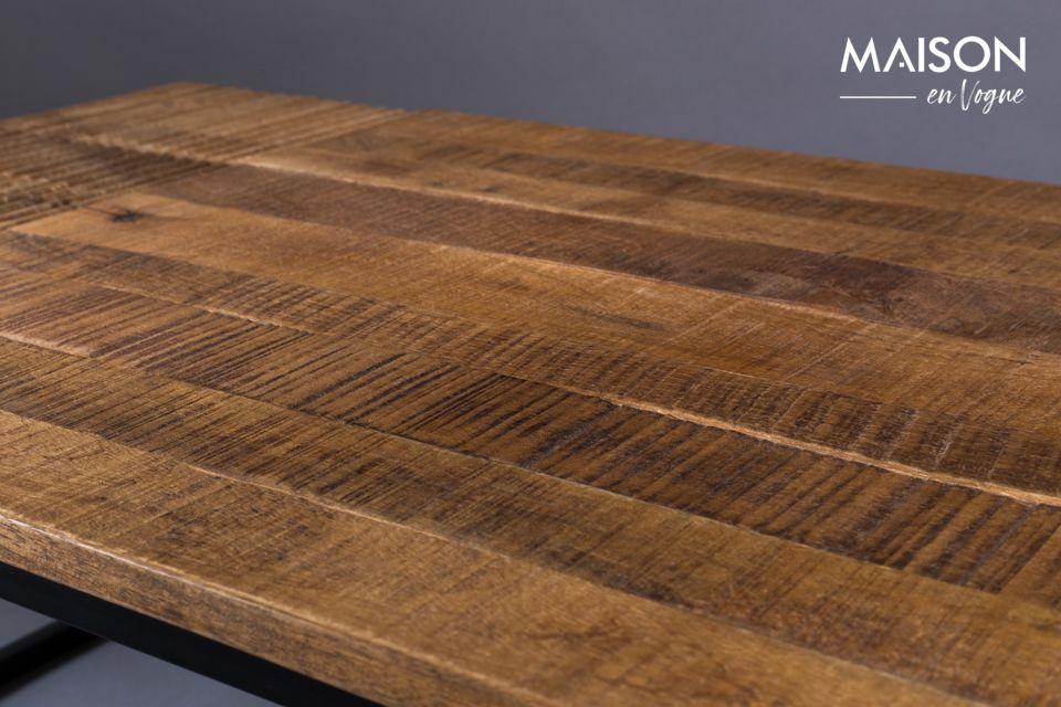 La parte superior es de madera de mango marrón oscuro para el lado antiguo