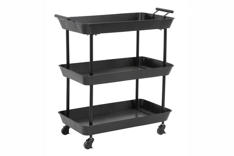 Práctica y funcional, esta mesa de metal negro tiene una gran capacidad de carga