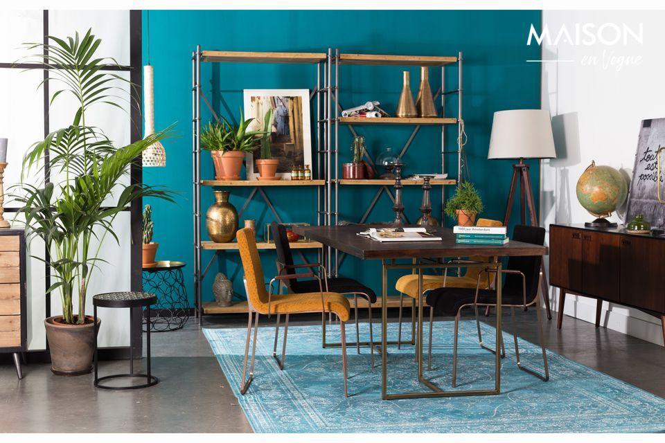Una mesa de comedor de diseño natural con diseño de espiga