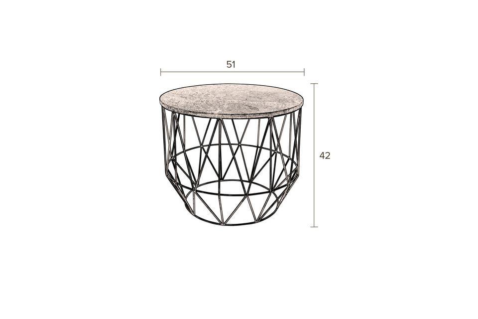 Una mesa elegante con tapa de mármol natural y estructura refinada
