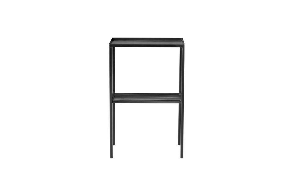 Mesa lateral de metal Cordon negro con parrilla Bloomingville