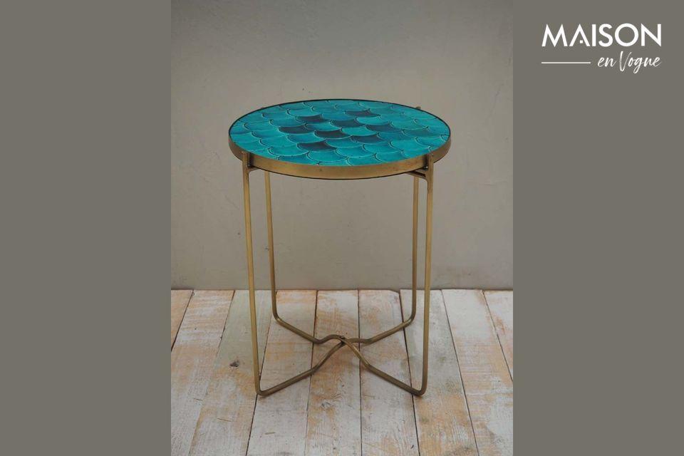 Mesa lateral Séguret de cerámica azul Chehoma
