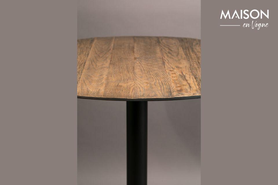 La mesa redonda Bistro Braza en marrón muestra un sutil contraste entre el marco de acero al