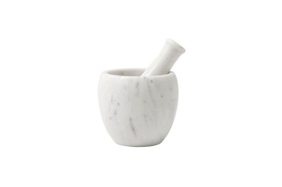 Mortero y mortero de mármol blanco Nordal