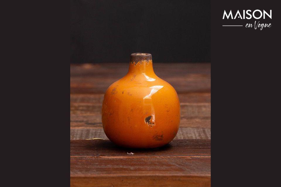 Pequeño jarrón de cerámica amarilla Agujero Chehoma