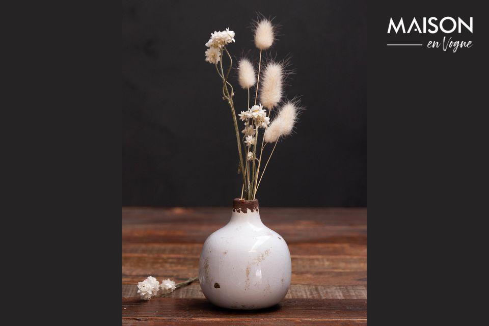 Pequeño jarrón de cerámica blanca Agujero Chehoma