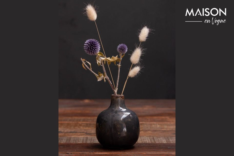 Pequeño jarrón de cerámica gris-negro Agujero Chehoma