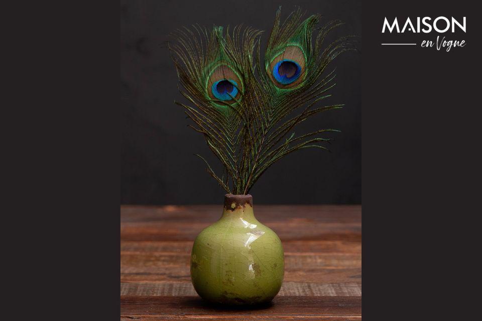 Pequeño jarrón de cerámica verde Agujero Chehoma