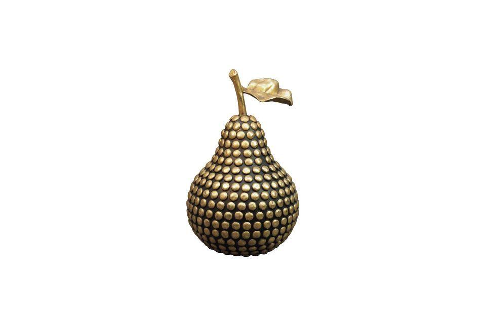Esta pera de resina con su color dorado no dejará de destacar en su interior