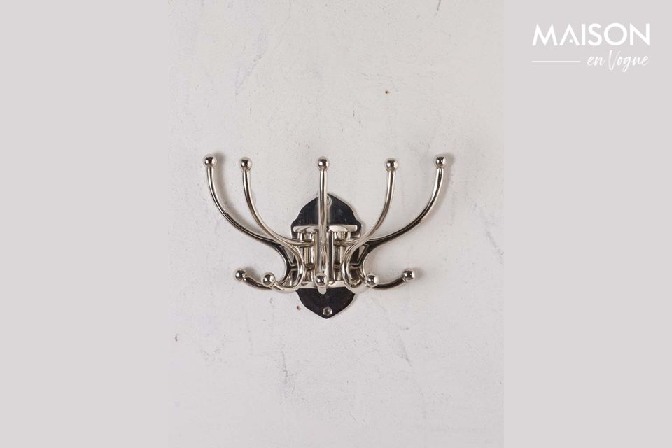 Perchero circular de Chaumont 5 ganchos con pátina de níquel Chehoma