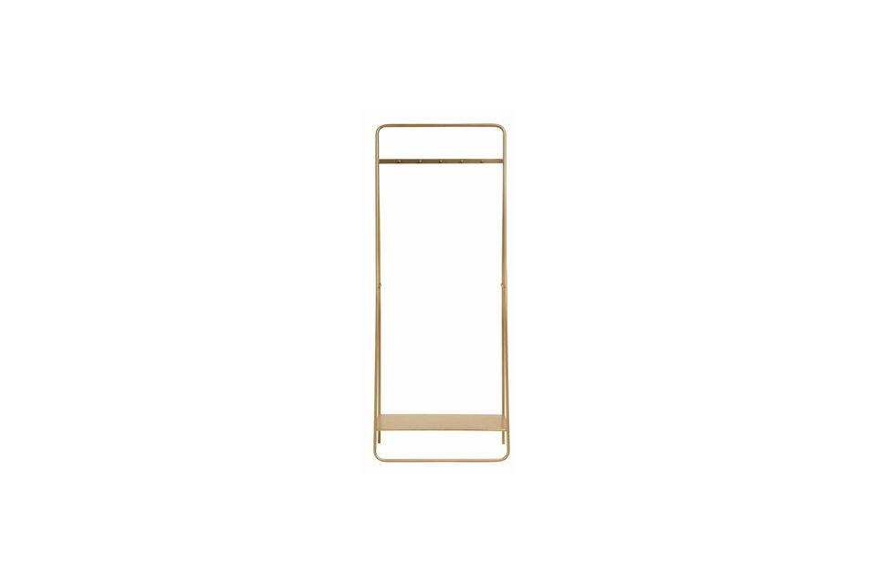 Se compone de una barra de metal dorado con 5 ganchos para colgar la ropa