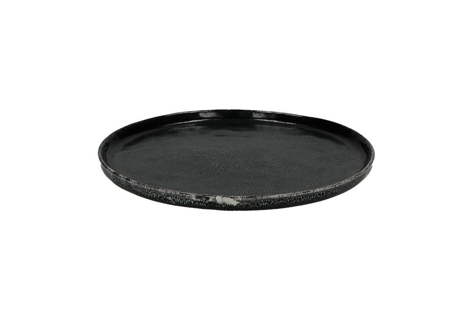 Plato de postre negro Porcelino Experience Pomax