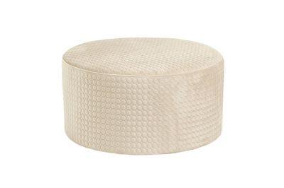 Pouf redondo Rhonda de terciopelo color crema