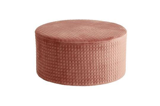 Pouf redondo Rhonda de terciopelo rosa