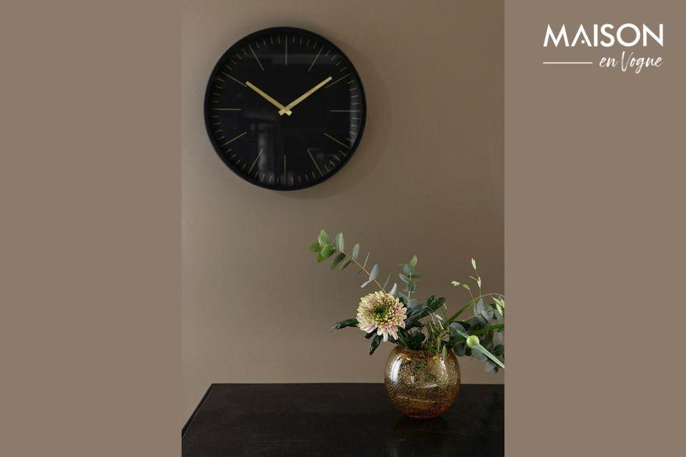 Reloj de pared Onix negro y oro Nordal
