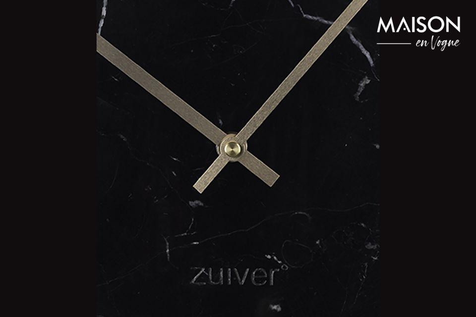 El reloj negro de mármol del tiempo es un elegante accesorio que realzará su interior