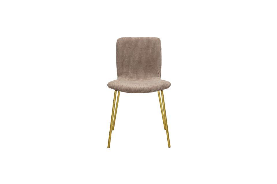 Su cómodo y suave asiento está hecho de poliéster de pana gris