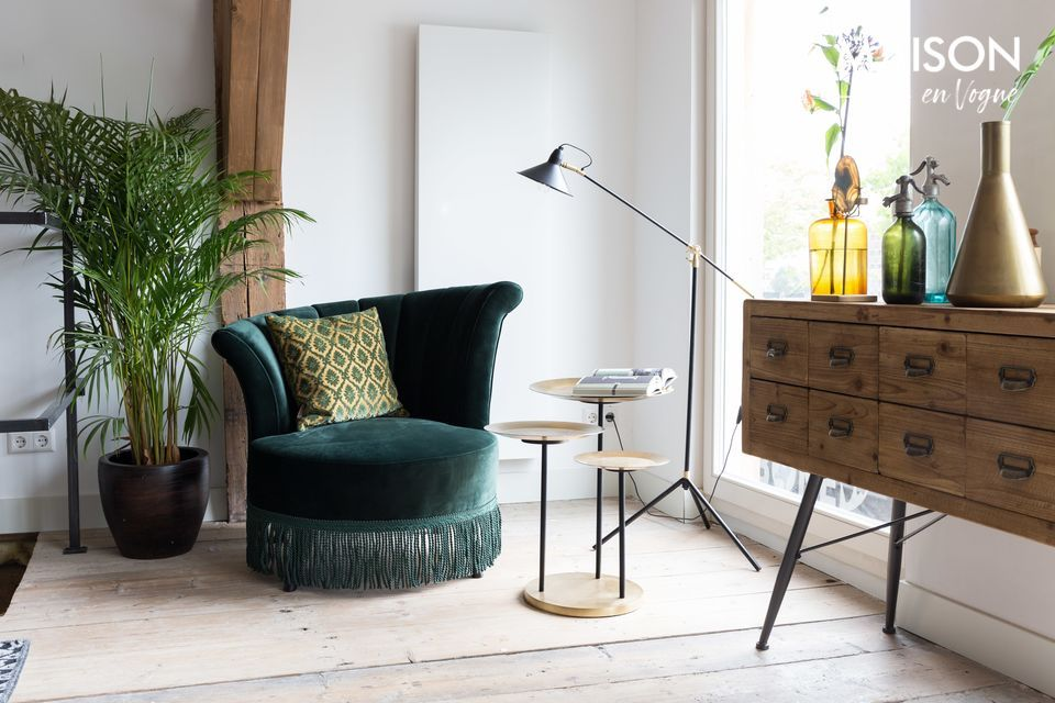 Ambiente de los años 20 con esta silla de salón de color verde oscuro con flecos