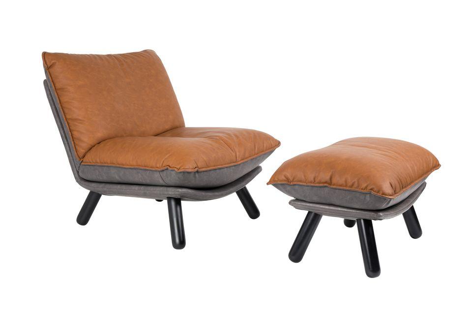 El sillón Lazy Sack LI Brown es perfectamente estable sobre sus patas de haya maciza lacada en