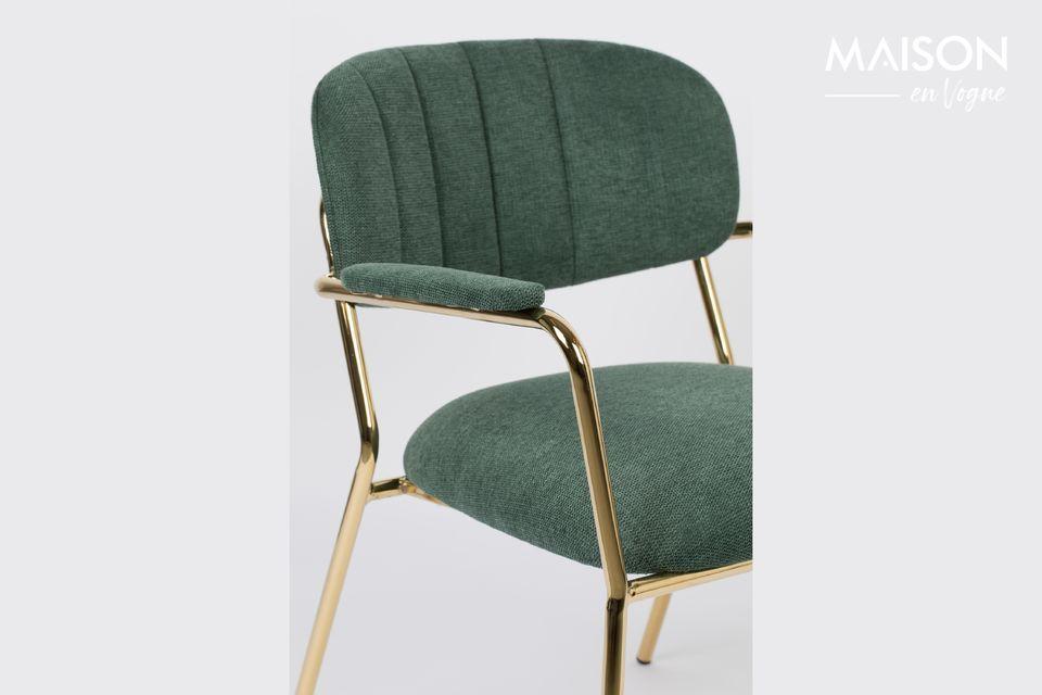 White label living propone una bonita silla de salón verde oscuro con patas doradas del más bello