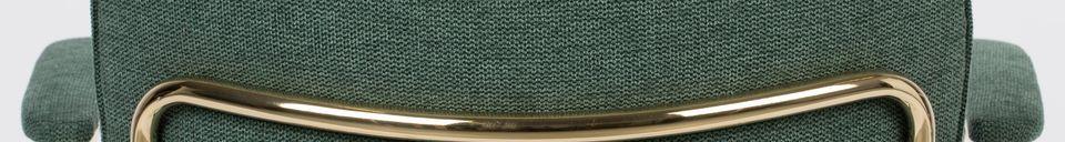 Descriptivo Materiales  Silla Jolien con apoyabrazos dorados y verdes oscuros