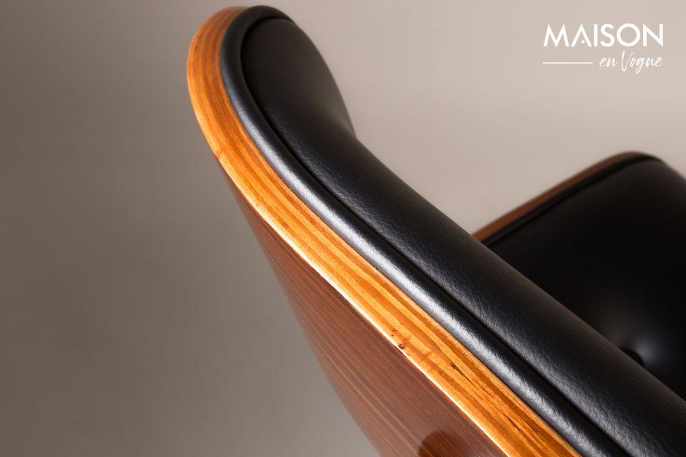 Silla negra Wood marrón y negra - 7