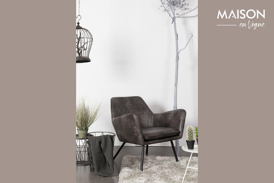 Sillón de salón Bon color gris oscuro White Label