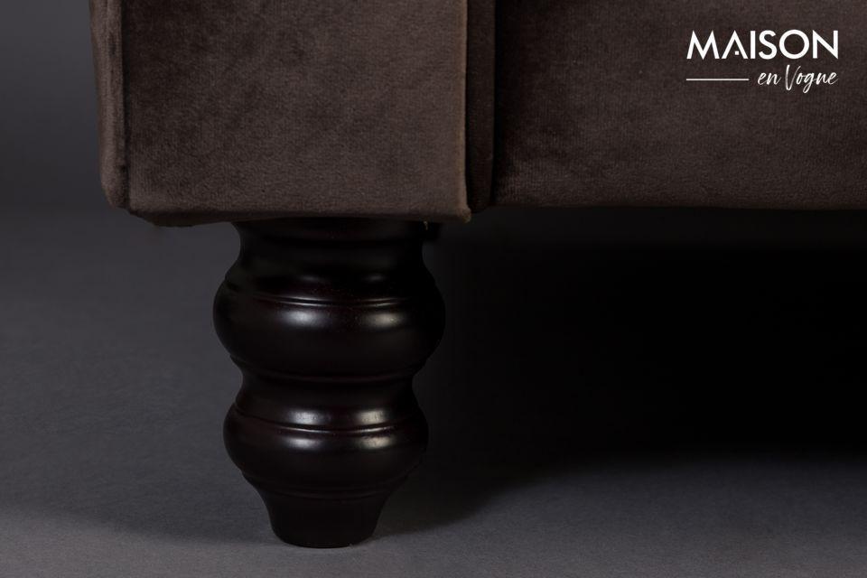 Sofá de terciopelo marrón de 3 plazas