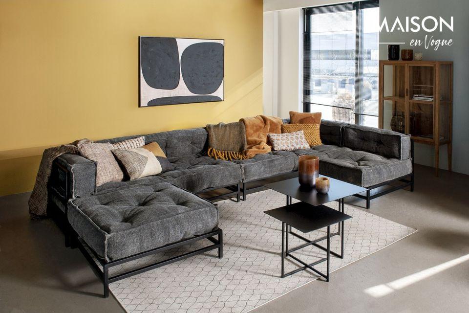 Sofá de esquina gris oscuro en metal y telas