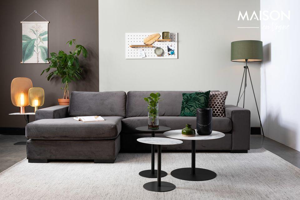 Sofá de izquierda Fiep de terciopelo gris
