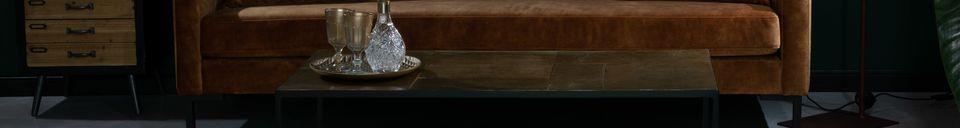 Descriptivo Materiales  Sofá Houda de 3 plazas en color caramelo
