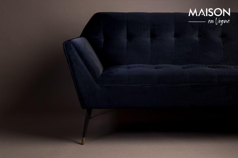 Este elegante sofá de 2 plazas está hecho de terciopelo 100% poliéster en un azul de medianoche