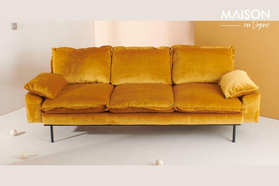 Sofá retro de 4 plazas Vez color ocre HK Living