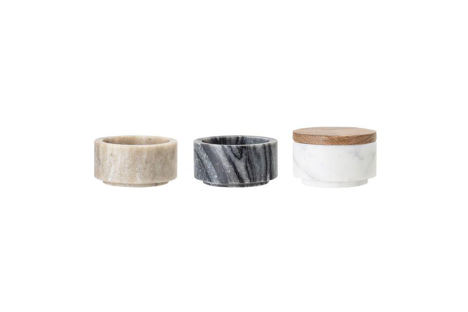 Estos tres frascos de mármol de diferentes colores son una necesidad para su cocina